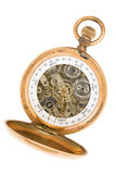 Clock-calendar. Ancient pocket watch with a calendar royalty free stock image