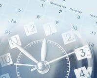 Clock and calendar. Clock face and calendar composite Stock Image