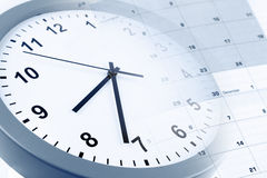 Clock and calendar. Clock face and calendar composite Stock Photo