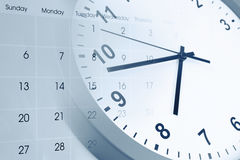 Clock and calendar. Clock face and calendar composite Stock Photos