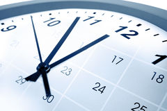 Clock and calendar. Clock face and calendar composite Stock Photography