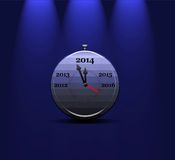 Clock calendar 2014. Illustration with a metal clock calendar 2014 Royalty Free Stock Image