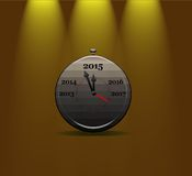 Clock calendar 2015. Illustration with a metal clock calendar 2015 Royalty Free Stock Photos