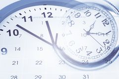 Time and calendar. Clock, calendar page and stopwatch Stock Image
