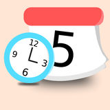 Clock and Calendar. Painting clock and calendar Stock Illustration