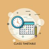 Clock, calendar and pencil. Concept of class timetable or schedule, personal study plan creation, learning time planning. And scheduling. Modern vector vector illustration
