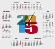 Clock Calendar 2015. Vector. Stock Images