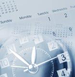 Clock and calendars. Clock face and calendars composite Stock Photos