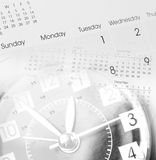 Clock and calendars. Clock face and calendars composite Royalty Free Stock Images
