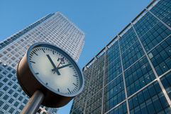 Clock at Canary Wharf Stock Image