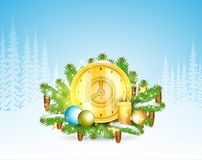Clock with candles stand on snowy fir tree branches. Christmas background. Clock with candles stand on snowy fir tree branches. Christmas horizontal background royalty free illustration