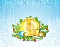 Clock with candles stand on snowy fir tree branches. Christmas horizontal background vector illustration