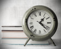Clock with canvas background Royalty Free Stock Images