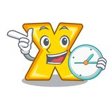 With clock cartoon multiply of a delete. Sign vector illustration stock illustration