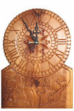 Clock carved on wood Royalty Free Stock Photos