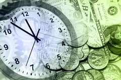 Clock and cash Royalty Free Stock Images