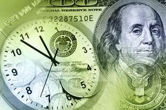 Clock and cash Royalty Free Stock Image