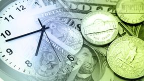 Clock and cash Stock Photo