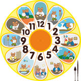 Clock Cat Schoolchild Royalty Free Stock Images