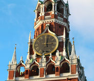 Clock on the central tower of the Moscow Kremlin Royalty Free Stock Photos