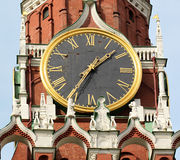 Clock on the central tower of the Moscow Kremlin Stock Photography