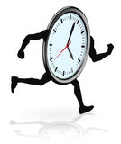 Clock character running. A clock character running. Concept for running out of time or work life balance Royalty Free Stock Photo