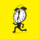 A clock character running Stock Image
