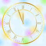 Clock on a christmas background Royalty Free Stock Images