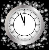 Clock on a christmas background Stock Images