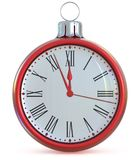 Clock Christmas ball New Year`s Eve midnight last hour pressure Royalty Free Stock Image