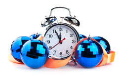 Clock and christmas balls Stock Photo