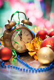 Clock and christmas balls - holiday background Royalty Free Stock Images