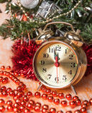 Clock,Christmas Beads Of Decorated Trees Stock Photo