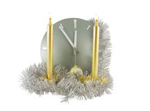 Clock with christmas decoration Royalty Free Stock Image