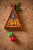 Clock with christmas decoration Stock Images