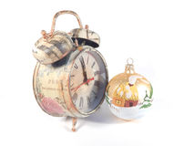 clock  and Christmas decoration Royalty Free Stock Photos