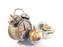 clock  and Christmas decoration Stock Image