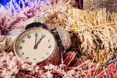Clock in Christmas decoration Stock Images