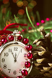 Clock and christmas decorations Royalty Free Stock Image