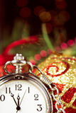 Clock and christmas decorations Royalty Free Stock Photos