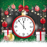 Clock Christmas Gift Star Twigs Baubles Black Wood Royalty Free Stock Image