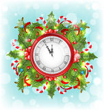 Clock with Christmas Holiday Decoration Royalty Free Stock Photography