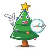With clock Christmas tree character cartoon. Vector illustration Royalty Free Stock Photos