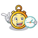 With clock chronometer character cartoon style Stock Photos