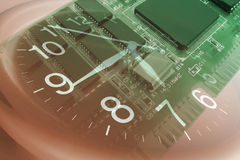 Clock and Circuit Board Stock Photography