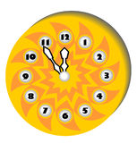 Clock with a clockface in the form of the sun Stock Image