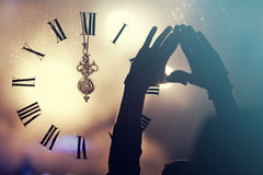 Clock close to midnight, and crowd waiting for New year Stock Images
