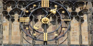Clock closeup in castle Czech Republic, Europe. Vintage style. Prague clock tower detail Royalty Free Stock Image