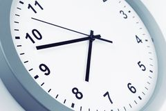 Clock. Closeup of hands on clock face Royalty Free Stock Images
