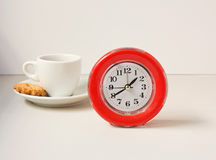 Clock and coffee. Royalty Free Stock Photos